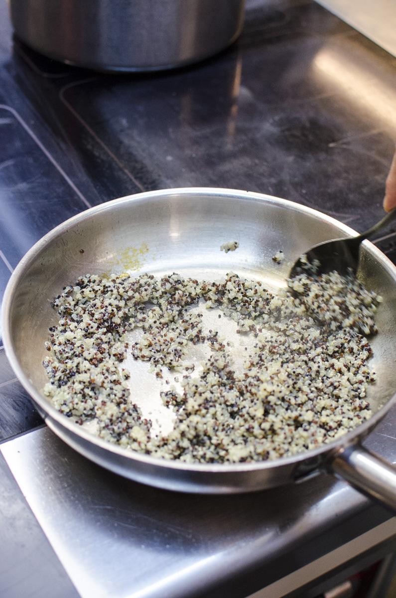 Warmer Quinoasalat mit Kürbismark und Cima di rapa